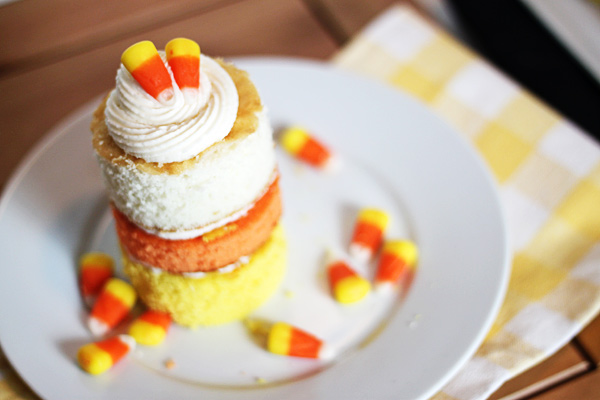 Candy Corn Mini Layer Cakes