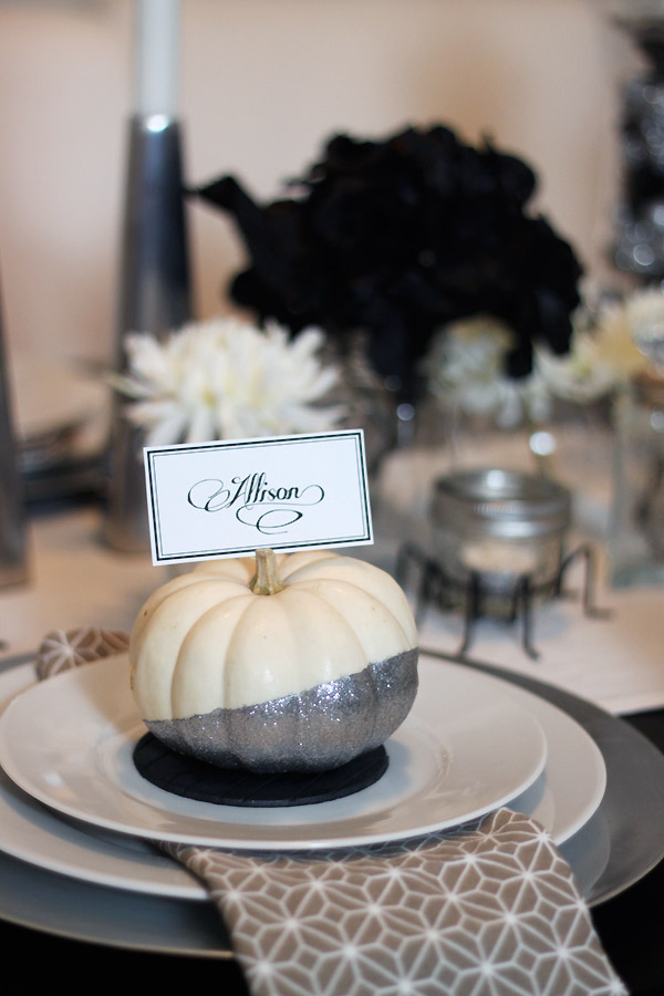 Glittered Pumpkin Place Cards