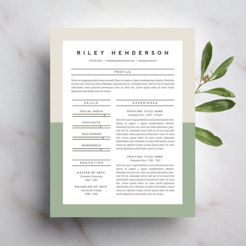 15 Beautiful Resumes You Can Buy On Etsy  Professional Resume Paper