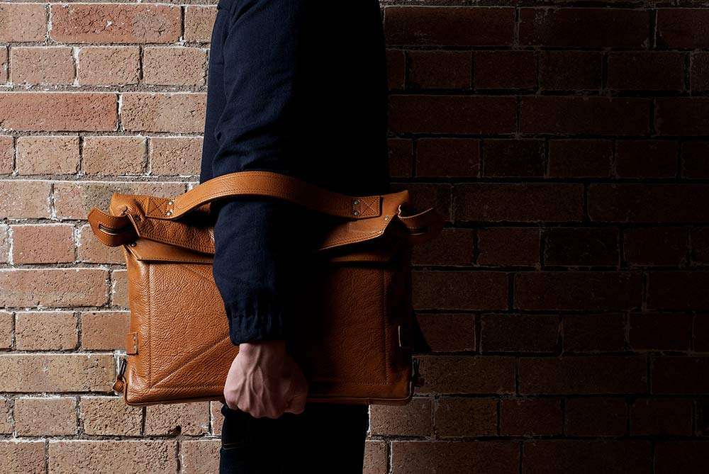 Hard Graft Leather Back2Back Laptop Bag - It's a backpack, laptop clutch and shoulder bag in one.